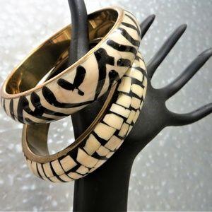 Jewelry - Two enamel shell inlay brass bold bangle bracelets